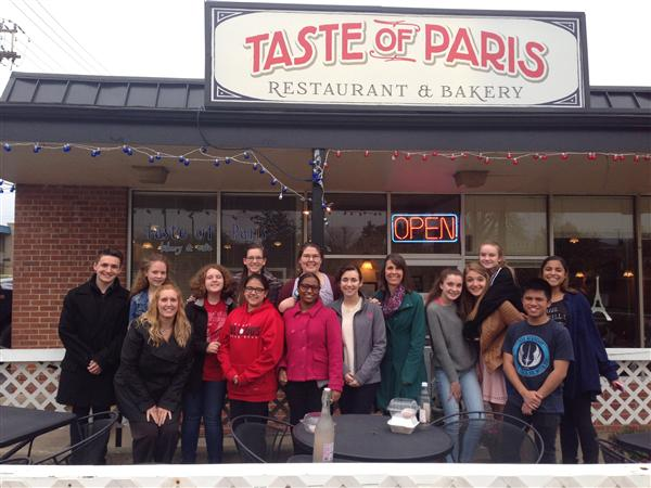 Grant Community High School's French Club group photo of Field Trip 2015 outside of Taste of Paris Restaurant and Bakery