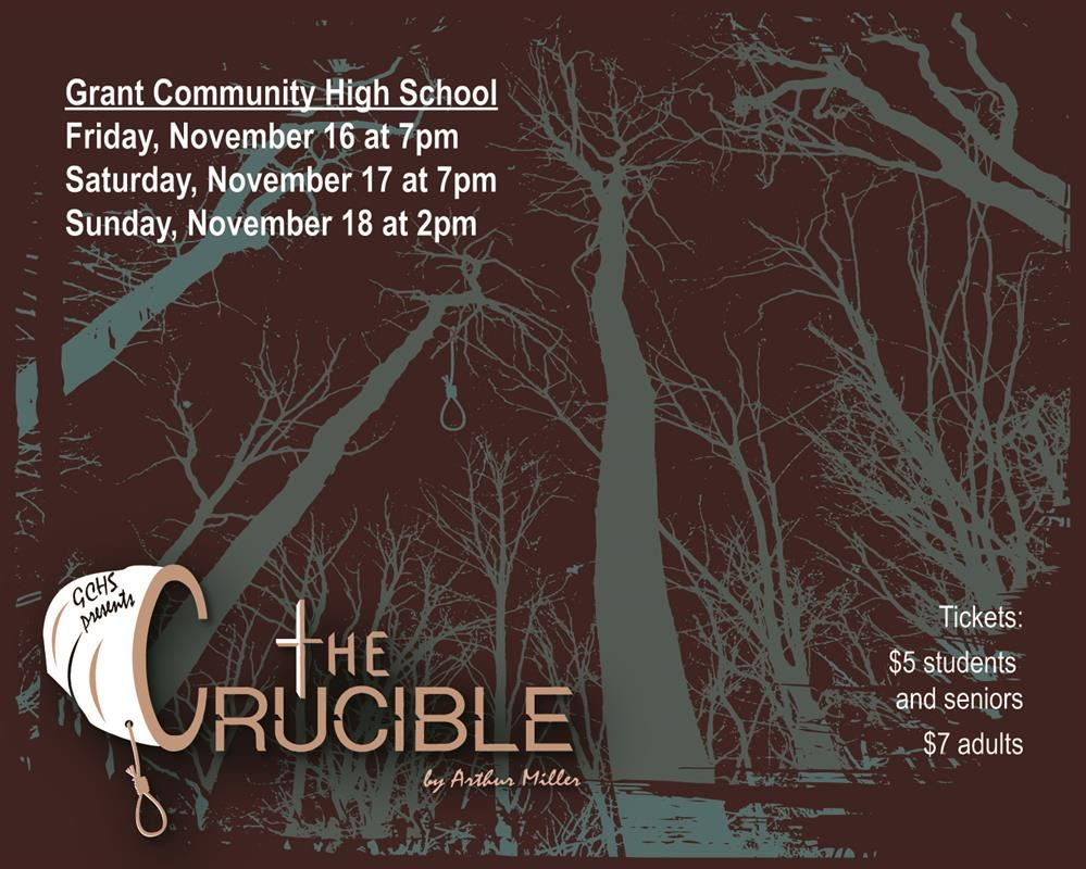 GHS presents the Crucible by Arthur Miller. Image of nighttime woods with noose hanging from tree.