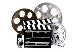 collage of film reels, clapperboard, and camera