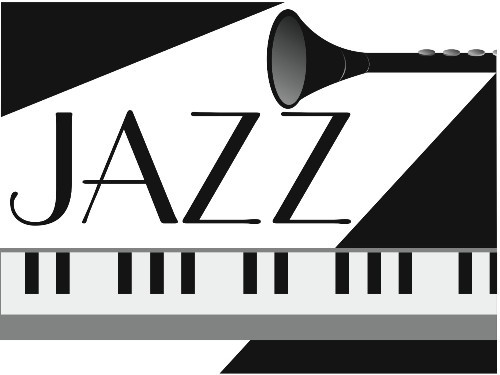 Jazz image of keyboard and bottom of clarinet