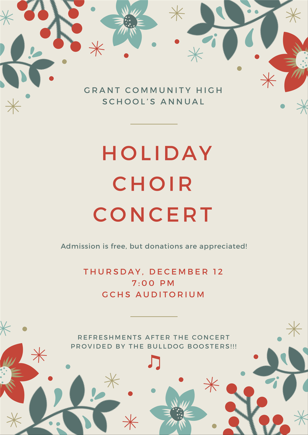 Holiday Choir Concert Flyer